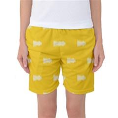 Waveform Disco Wahlin Retina White Yellow Women s Basketball Shorts by Mariart