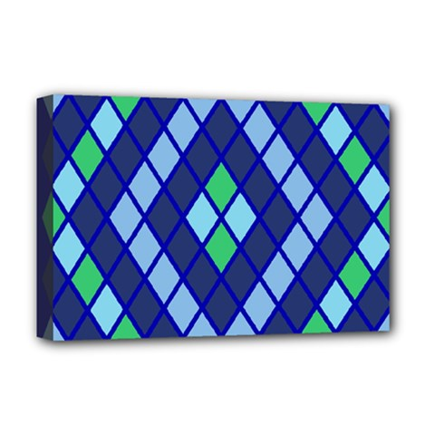 Blue Diamonds Green Grey Plaid Line Chevron Deluxe Canvas 18  X 12   by Mariart
