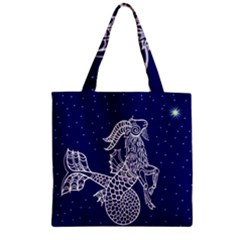 Capricorn Zodiac Star Zipper Grocery Tote Bag by Mariart