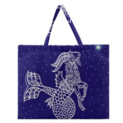 Capricorn Zodiac Star Zipper Large Tote Bag by Mariart