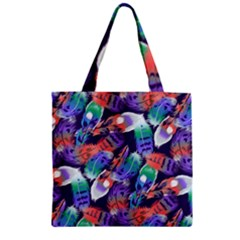Bird Feathers Color Rainbow Animals Fly Zipper Grocery Tote Bag by Mariart