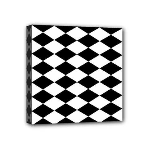 Diamond Black White Plaid Chevron Mini Canvas 4  X 4  by Mariart