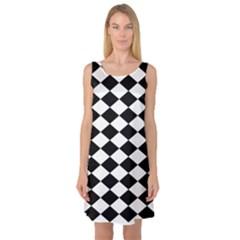 Diamond Black White Plaid Chevron Sleeveless Satin Nightdress by Mariart