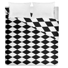 Diamond Black White Plaid Chevron Duvet Cover Double Side (queen Size) by Mariart