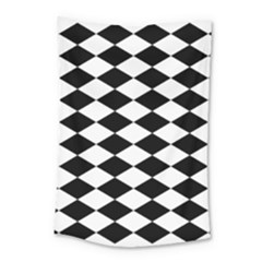 Diamond Black White Plaid Chevron Small Tapestry by Mariart