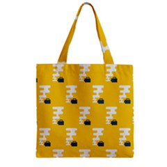Fog Machine Fogging White Smoke Yellow Zipper Grocery Tote Bag by Mariart