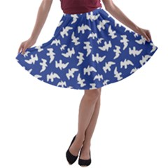 Birds Silhouette Pattern A Line Skater Skirt by dflcprintsclothing