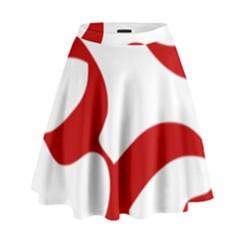 Hindu Om Symbol (red) High Waist Skirt by abbeyz71