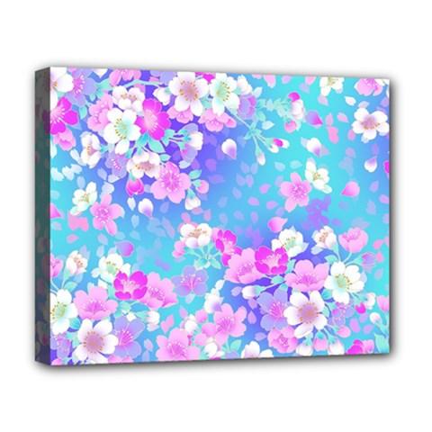 Flowers Cute Pattern Deluxe Canvas 20  X 16