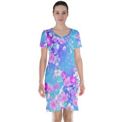 Flowers Cute Pattern Short Sleeve Nightdress