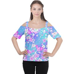 Flowers Cute Pattern Women s Cutout Shoulder Tee