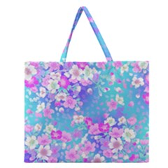 Flowers Cute Pattern Zipper Large Tote Bag by Nexatart