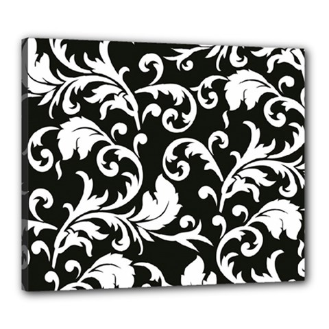 Black And White Floral Patterns Canvas 24  X 20  by Nexatart