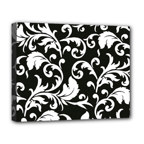 Black And White Floral Patterns Deluxe Canvas 20  X 16