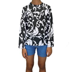 Black And White Floral Patterns Kids  Long Sleeve Swimwear