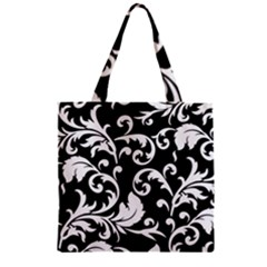 Black And White Floral Patterns Zipper Grocery Tote Bag by Nexatart