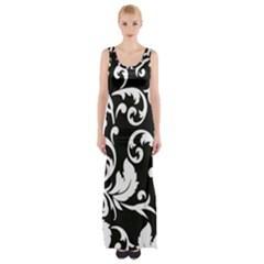 Black And White Floral Patterns Maxi Thigh Split Dress