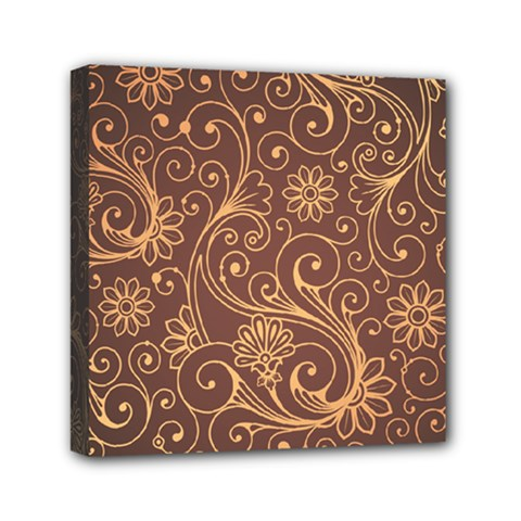 Gold And Brown Background Patterns Mini Canvas 6  X 6  by Nexatart