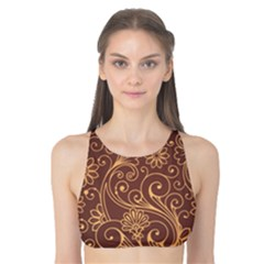 Gold And Brown Background Patterns Tank Bikini Top