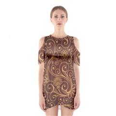 Gold And Brown Background Patterns Shoulder Cutout One Piece