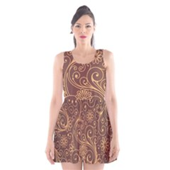 Gold And Brown Background Patterns Scoop Neck Skater Dress