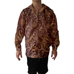 Gold And Brown Background Patterns Hooded Wind Breaker (kids)