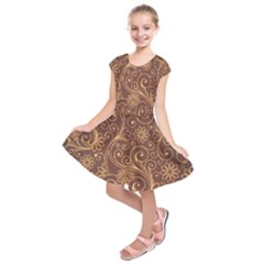 Gold And Brown Background Patterns Kids  Short Sleeve Dress