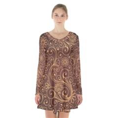 Gold And Brown Background Patterns Long Sleeve Velvet V Neck Dress