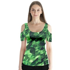 Green Attack Butterfly Sleeve Cutout Tee