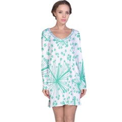 Pattern Floralgreen Long Sleeve Nightdress