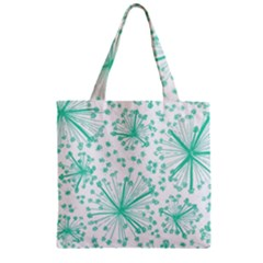 Pattern Floralgreen Zipper Grocery Tote Bag by Nexatart