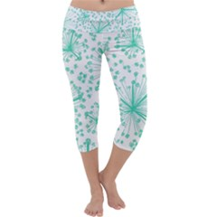 Pattern Floralgreen Capri Yoga Leggings
