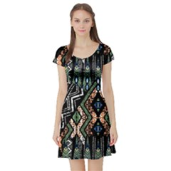 Ethnic Art Pattern Short Sleeve Skater Dress