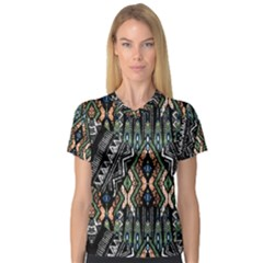 Ethnic Art Pattern Women s V Neck Sport Mesh Tee