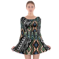 Ethnic Art Pattern Long Sleeve Skater Dress