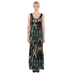 Ethnic Art Pattern Maxi Thigh Split Dress
