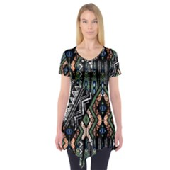 Ethnic Art Pattern Short Sleeve Tunic