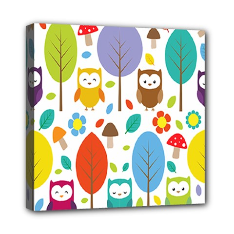 Cute Owl Mini Canvas 8  X 8  by Nexatart