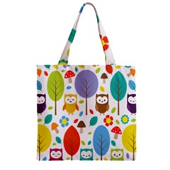 Cute Owl Zipper Grocery Tote Bag