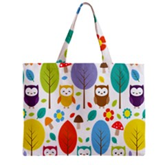 Cute Owl Zipper Mini Tote Bag by Nexatart