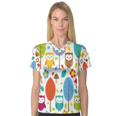 Cute Owl Women s V Neck Sport Mesh Tee