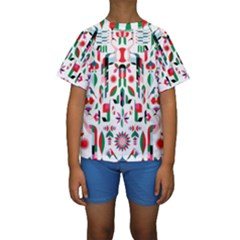 Abstract Peacock Kids  Short Sleeve Swimwear