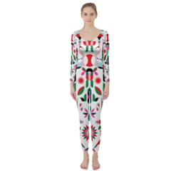 Abstract Peacock Long Sleeve Catsuit