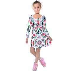 Abstract Peacock Kids  Long Sleeve Velvet Dress