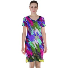 Tropical Jungle Print And Color Trends Short Sleeve Nightdress