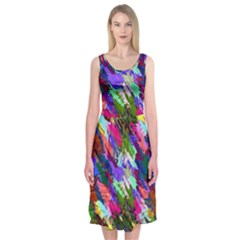 Tropical Jungle Print And Color Trends Midi Sleeveless Dress