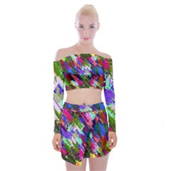 Tropical Jungle Print And Color Trends Off Shoulder Top with Skirt Set by Nexatart
