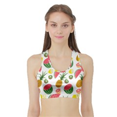 Fruits Pattern Sports Bra With Border