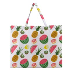 Fruits Pattern Zipper Large Tote Bag by Nexatart
