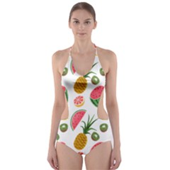 Fruits Pattern Cut Out One Piece Swimsuit
